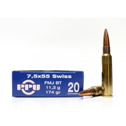 Munición PRVI 7.5x55 Swiss 174 gr FMJ